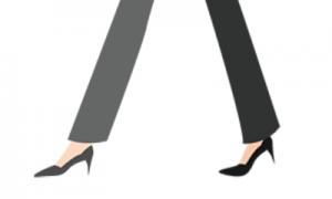 ハイヒールをかっこよく履きこなすスーツの女性の足のイラスト