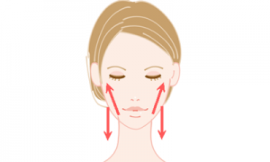 顔のむくみをリンパマッサージで解消する女性のイメージイラスト