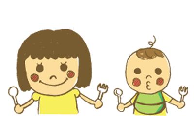 男の子と女のがご飯を楽しみにしているカワイイ子供のイラスト