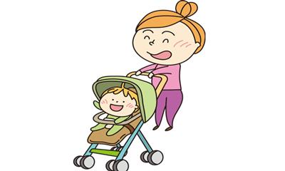 ママがベビーカーに乗った赤ちゃんを散歩させている女性のイラスト