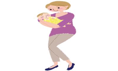 ママが赤ちゃんを抱っこしながらスクワットをする女性のイラスト