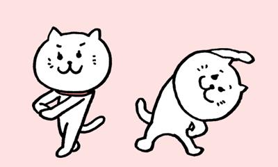 ストレッチをする二匹の白猫が可愛いイラスト