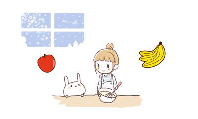 バナナとリンゴを楽しみにしているウサギと女の子のイラスト