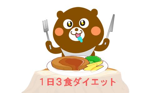 1日3食ダイエットに挑戦するクマが肉料理を前にナイフとフォークを持ってよだれを垂らしながら目を輝かせているイラスト