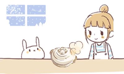 鍋料理を楽しみにしているウサギと女の子のイラスト