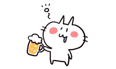 白猫が飲みすぎで酔っぱらっているイラスト