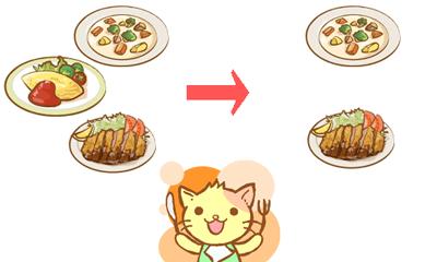 猫が1日3食から2食に変更してダイエットに挑戦するイメージイラスト