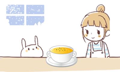 スープを楽しみにしているウサギと女の子のイラスト