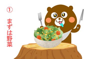 野菜を食べる茶色いクマがナイフとフォークを持っているイラスト