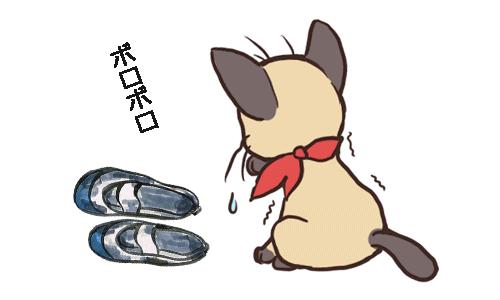 猫がボロボロの靴を見てがっかりしているイラスト