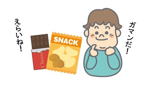 子供がチョコとポテトチップスのお菓子を我慢しているイラスト