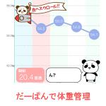 超簡単体重管理ダイエットbyだーぱんアプリのグラフ化の可愛さを紹介するイラスト