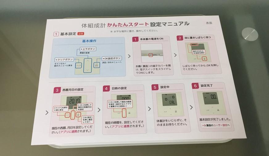 FINCの体組成計の初期設定マニュアルの写真